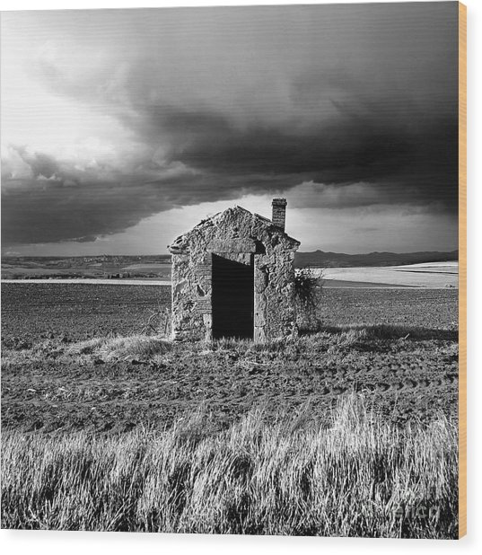 Derelict Stone Shed In  Auvergne. France Wood Print