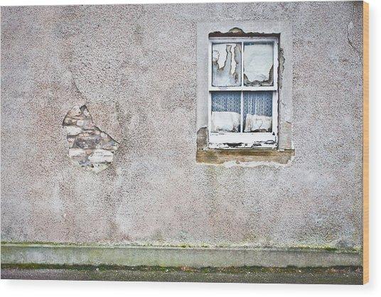 Derelict Window Wood Print