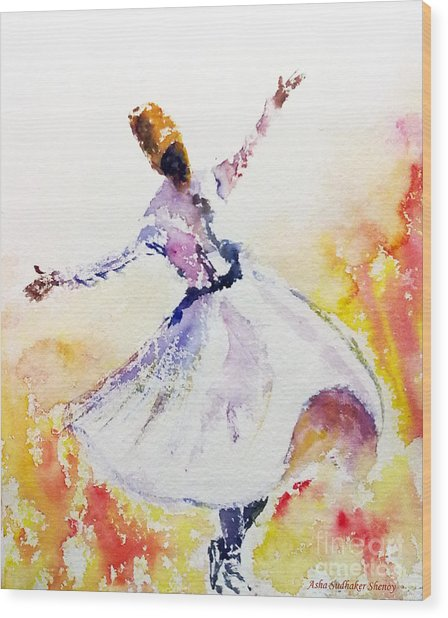Sufi  Or Dervish Dancer Wood Print