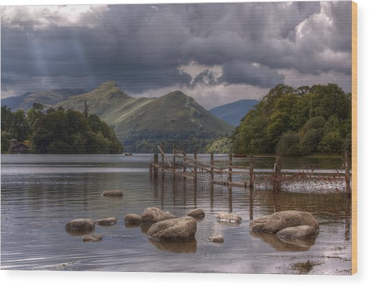 Derwent Water Towards Catsbells Wood Print