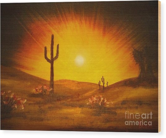 Desert Aglow Wood Print