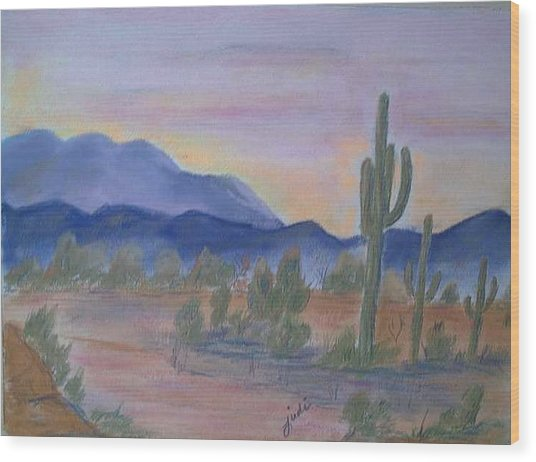Desert Aglow Wood Print by Judi Pence