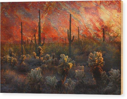 Desert Burn Wood Print
