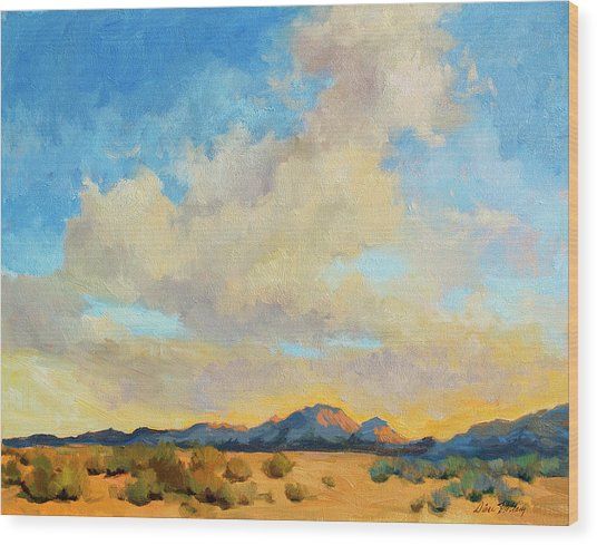 Desert Clouds Wood Print