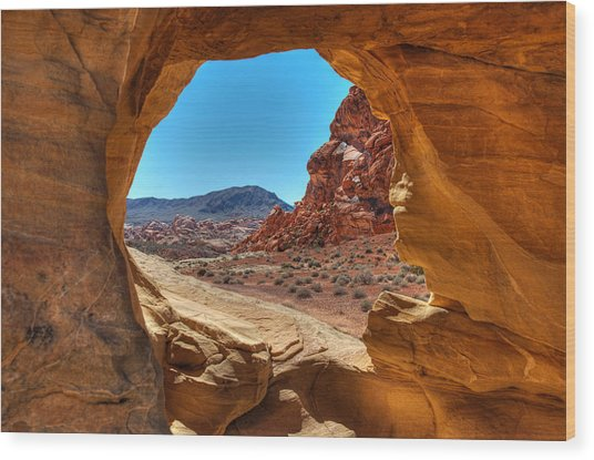 Desert Crevice Wood Print