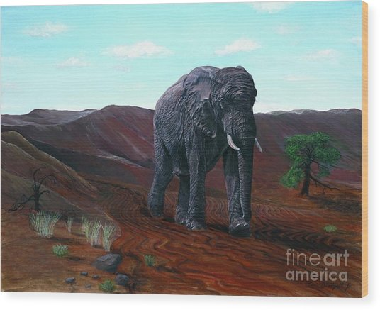 Desert Elephant Wood Print