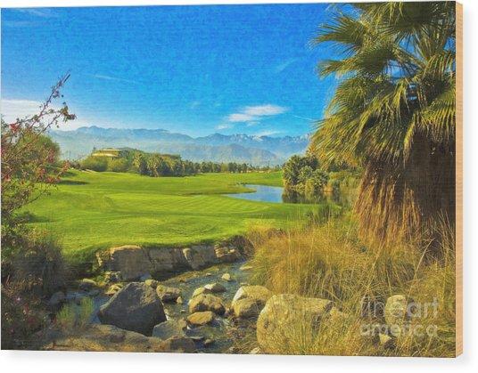 Desert Golf Resort Pastel Photograph Wood Print
