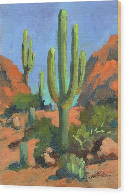Desert Morning Saguaro Wood Print