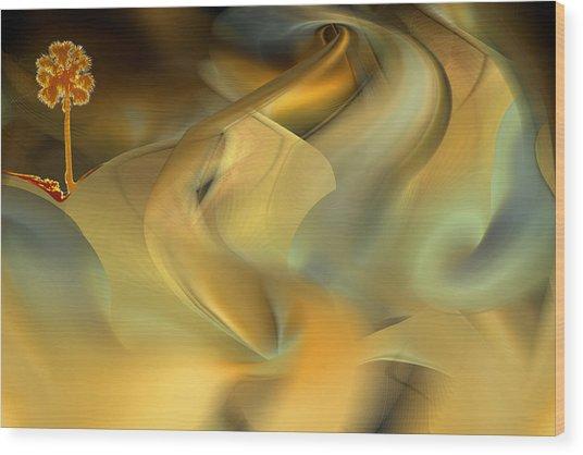 Desert Palm In Sandstorm Wood Print