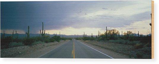 Desert Road Near Tucson Arizona Usa Wood Print