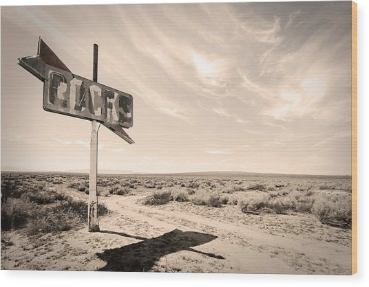 Desert Sign Wood Print by Rick Rhay