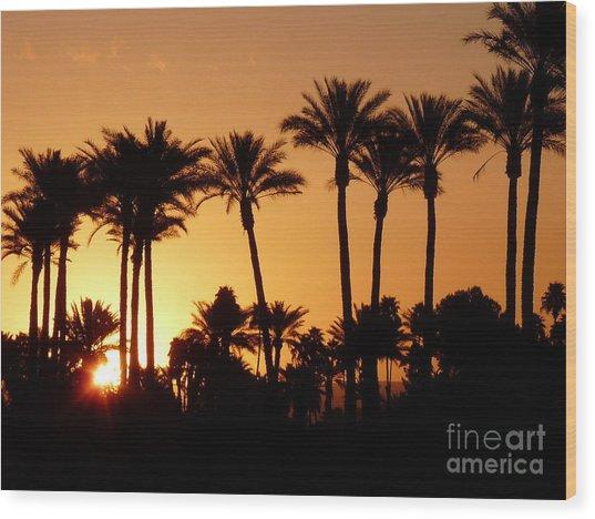 Desert Silhouette Sunrise Wood Print by Deborah Smolinske