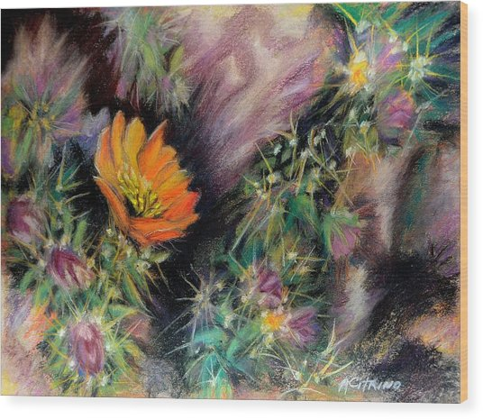 Desert Spring Impression Of   Pastel Wood Print