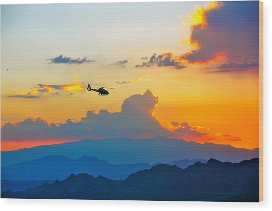 Desert Sunset Wood Print by Amanda Miles