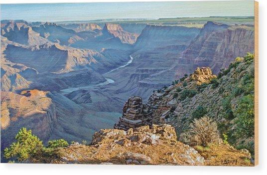 Desert View-morning Wood Print