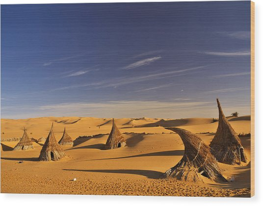 Desert Village Wood Print