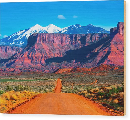 Deserted Dirt Road Wood Print