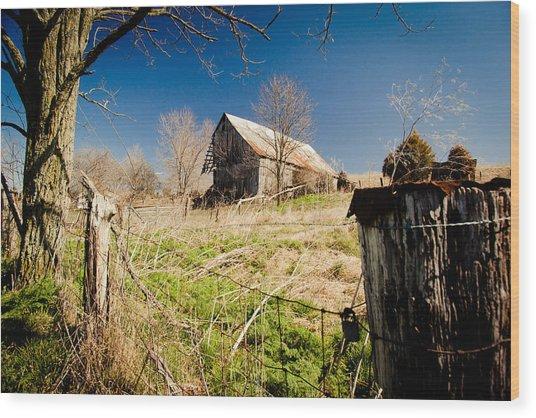 Deserted Farm Wood Print by Karen Varnas