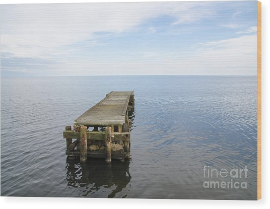 Deserted Jetty Wood Print