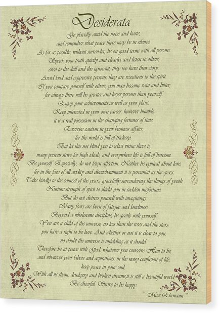 Desiderata Gold Bond Scrolled Wood Print