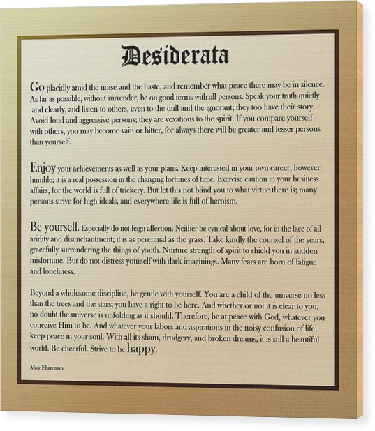 Desiderata Old English Square Wood Print