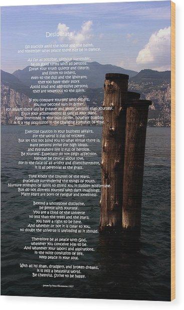 Desiderata On Lake View Wood Print