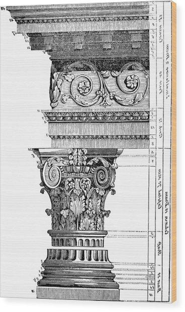 Detail Of A Corinthian Column And Frieze II Wood Print