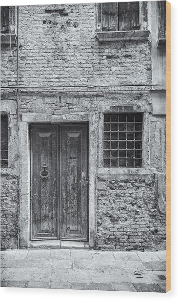 Detail Of Old Facade In Venice Wood Print by Francesco Rizzato