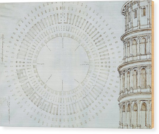 Detail Of Study With Map And Relief Of Colosseum Wood Print