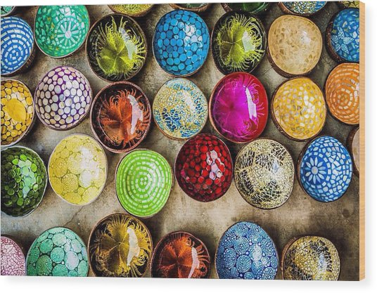 Detail Shot Of Colorful Bowls Wood Print by Nam Bui Anh / Eyeem