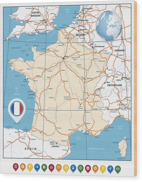 Detailed Road Map Of France.Detailed Road Vector Map Of France And Colorful Map Pointers By Cartarium