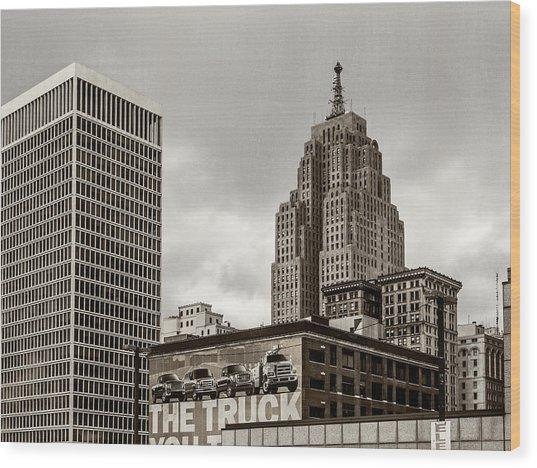 Detroit Cityscape - Penobscot Building Wood Print