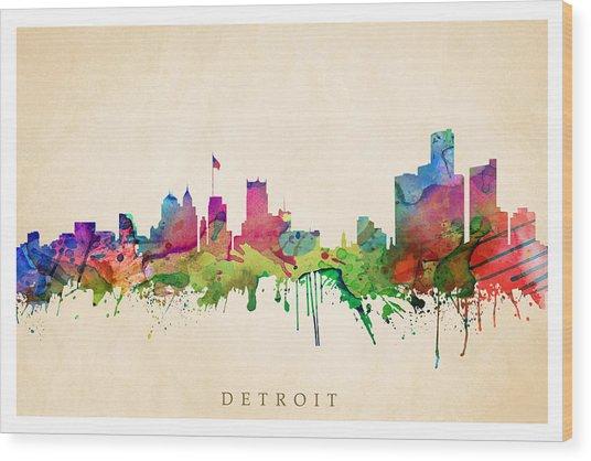 Detroit Cityscape Wood Print