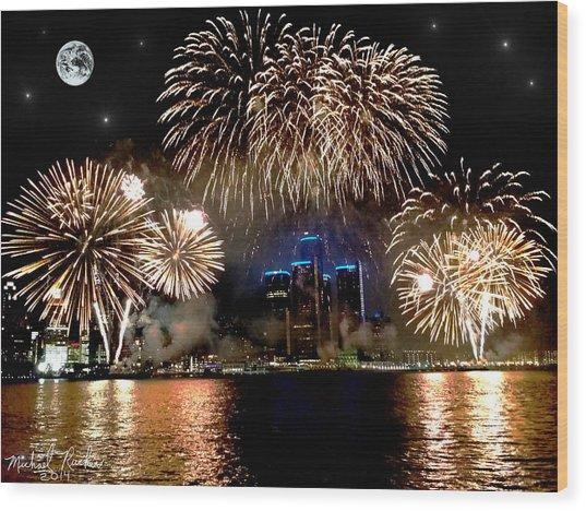 Detroit Fireworks Wood Print by Michael Rucker