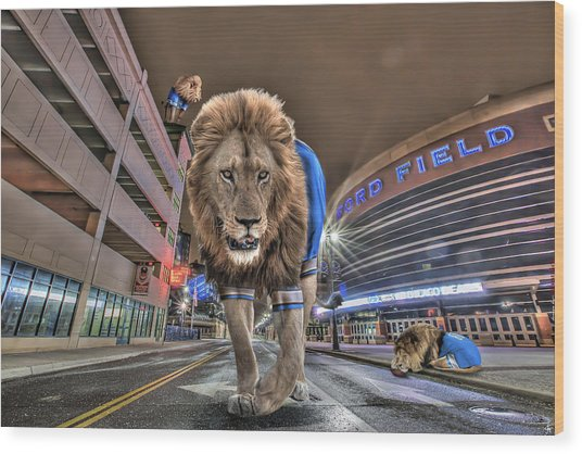 Detroit Lions At Ford Field Wood Print