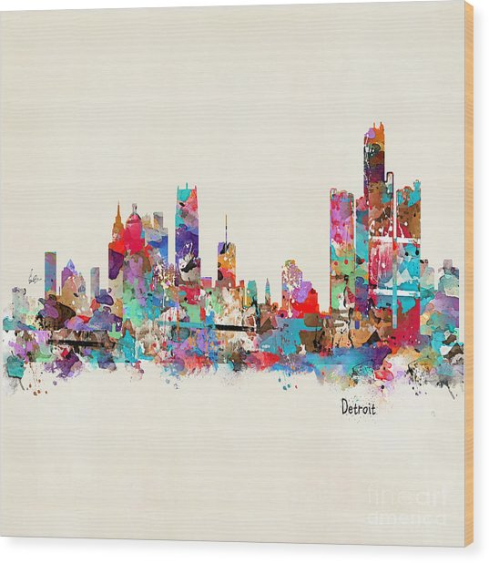 Detroit Michigan Skyline Square Wood Print