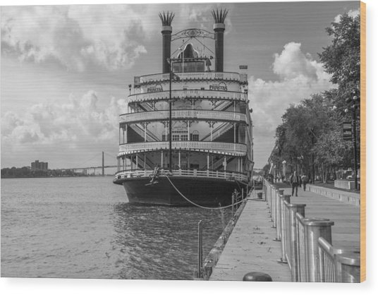 Detroit River Princess Black And White  Wood Print