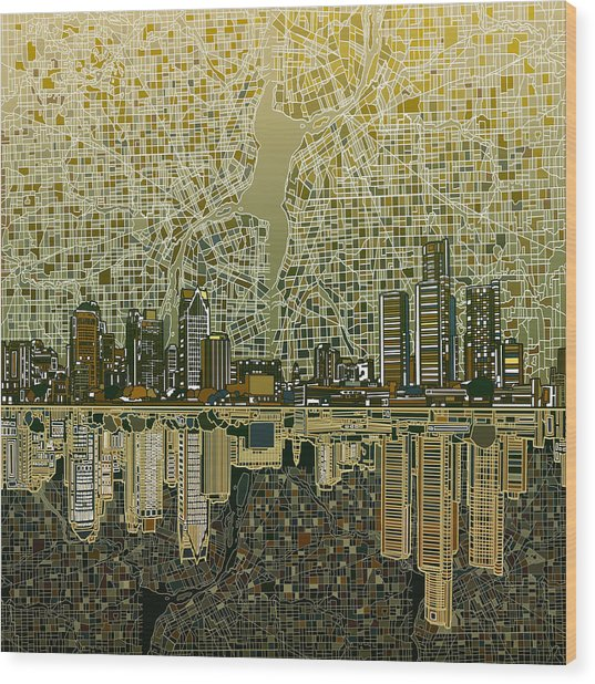 Detroit Skyline Abstract 4 Wood Print
