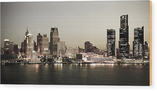 Detroit Skyline At Night Wood Print