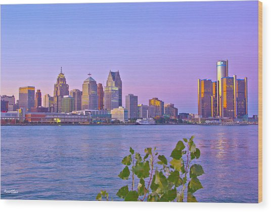 Detroit Skyline At Sunset Wood Print