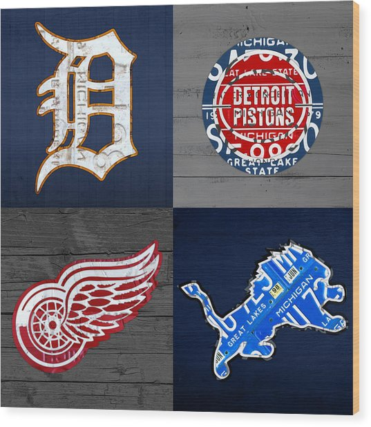Detroit Sports Fan Recycled Vintage Michigan License Plate Art Tigers Pistons Red Wings Lions Wood Print