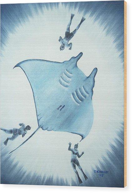 Devil Fish Wood Print