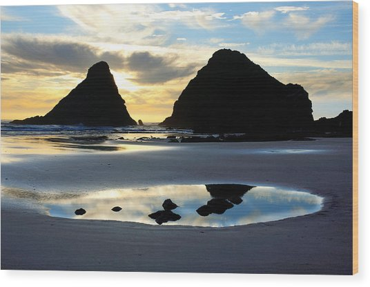 Devil's Elbow Reflection At Heceta Head Wood Print