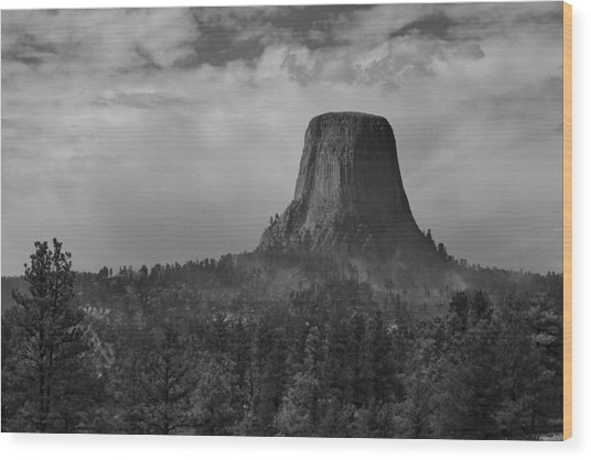 Devil's Tower Burns Wood Print