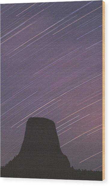 Devils Tower Star Trails Wood Print
