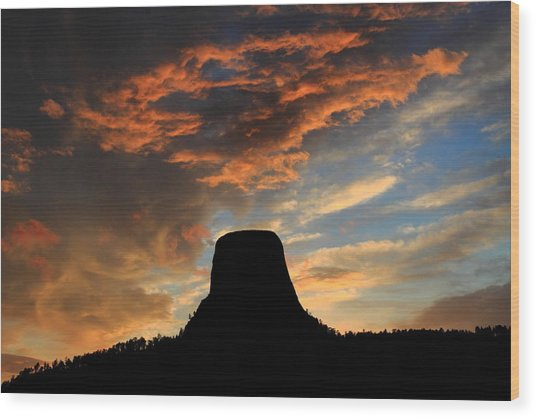 Devil's Tower Sunset Wood Print