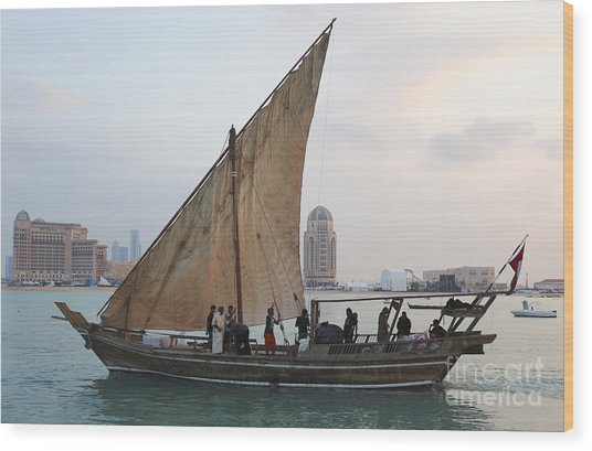 Dhow And Hotels Wood Print