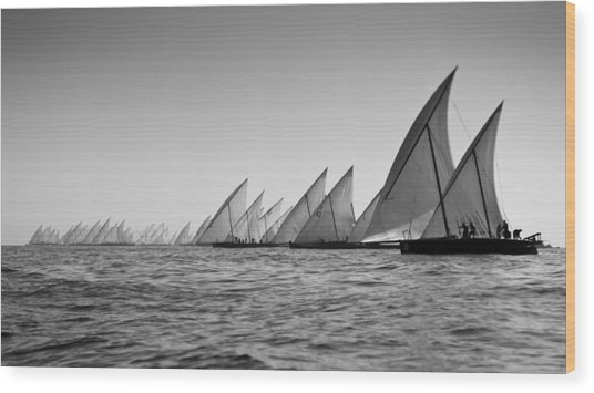 Dhow Race Start Wood Print by Chris Cameron