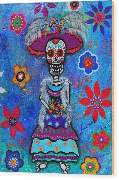 Dia De Los Muertos Catrina Wood Print