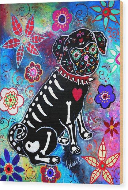 Dia De Los Muertos Pug Wood Print